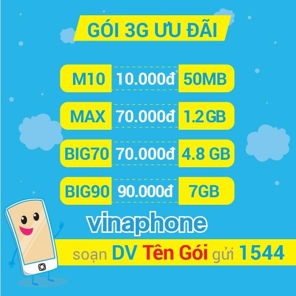 Đăng ký 3G Vinaphone qua SMS