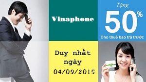 Vinaphone tặng 50% giá trị thẻ nạp ngày 4/9