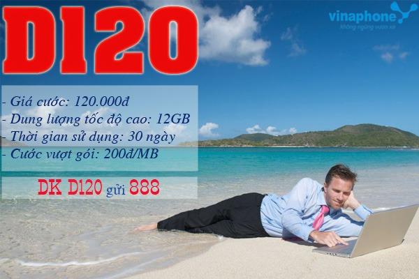 Đăng ký gói D120 Vinaphone nhận ngay 12GB