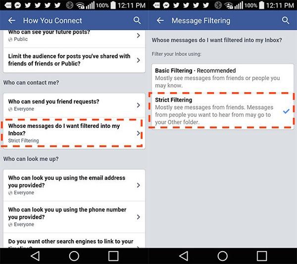 Cách chặn tin nhắn rác trên Facebook trong tít tắt
