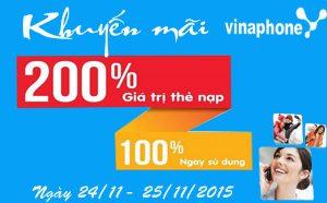 Vinaphone tặng 200% giá trị thẻ nạp cho TB Ezcom ngày 24 - 25/11