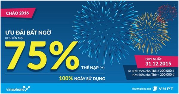 Chào năm mới Vinaphone khuyến mãi khủng 75% ngày 31/12