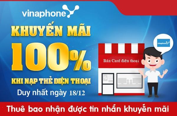Khuyến mãi 100% giá trị thẻ nạp Vinaphone