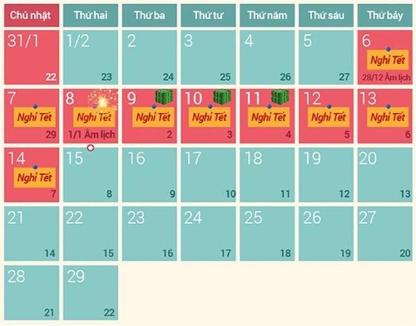 Lịch nghỉ Tết Âm lịch 2016 – Tết Nguyên Đán Bính Thân