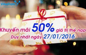 Vinaphone khuyến mãi 50% thẻ nạp duy nhất ngày 27/1/2016