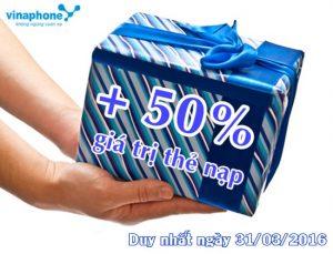 Duy nhất ngày 31/3 Vinaphone khuyến mãi 50% thẻ nạp