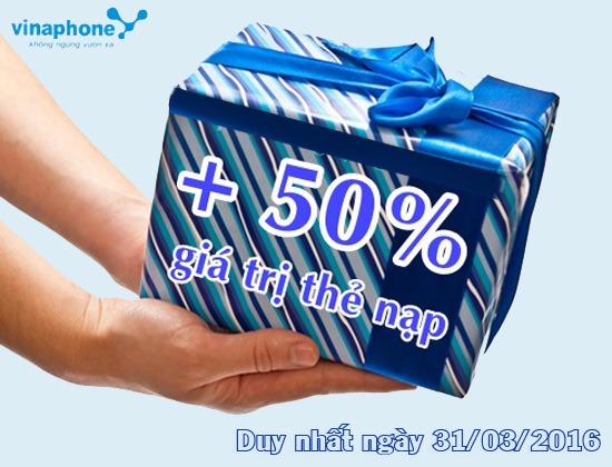 Duy nhất ngày 31/3 Vinaphone khuyến mãi 50% thẻ nạp1