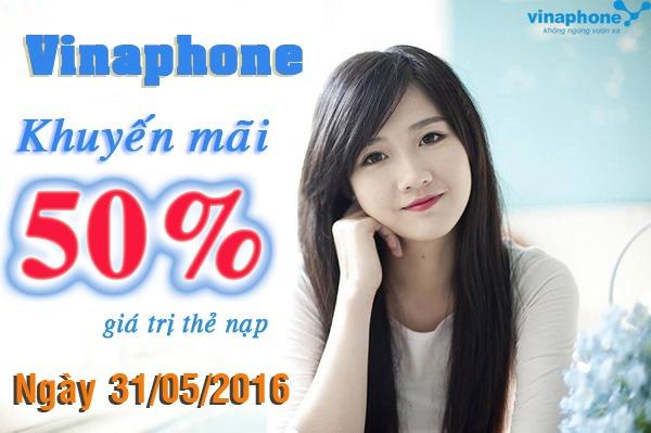 Vinaphone khuyến mãi cục bộ tặng 50% thẻ nạp