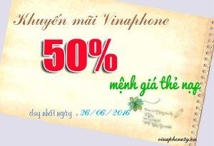 Khuyến mãi Vinaphone tặng 50% thẻ nạp ngày