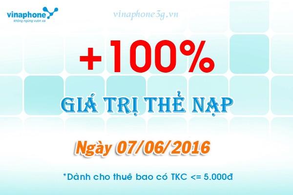Vinaphone khuyến mãi 100% giá trị thẻ nạp
