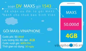 Đăng ký gói cước MAXs Vinaphone ưu đãi 4GB data