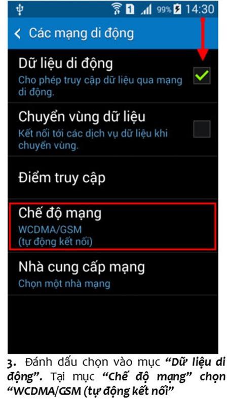cài đặt 3G Vinaphone cho điện thoại Samsung