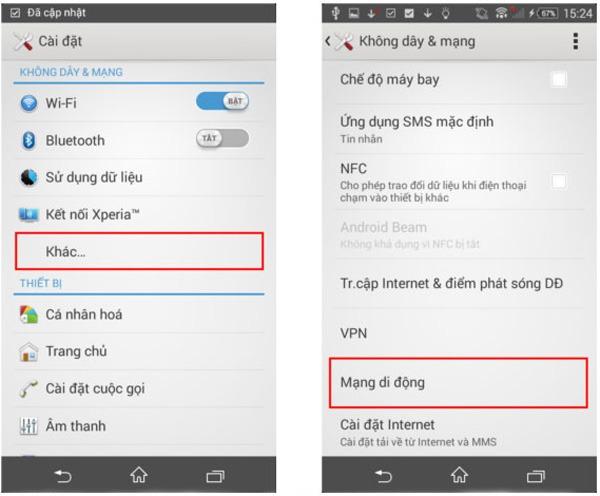 cách cài đặt 3G Vinaphone cho Sony