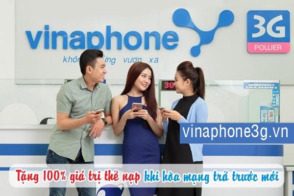 Vinaphone khuyến mãi 100% thẻ nạp cho thuê bao hoà mạng mới
