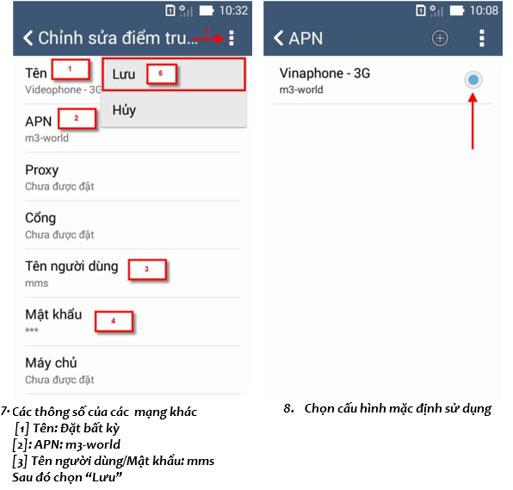 cài đặt 3G Vinaphone cho điện thoại Asus Zenfone