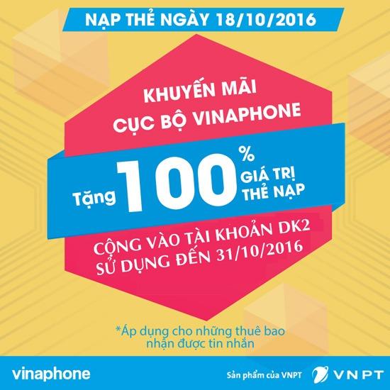 huyến mãi cục bộ 50% giá trị thẻ nạp Vinaphone ngày 18-10