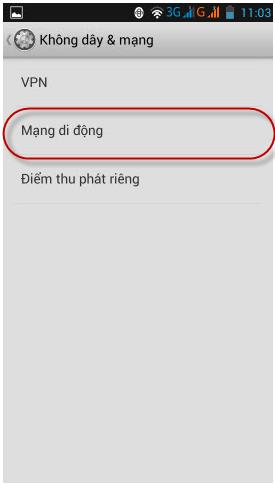 cài đặt điểm truy cập APN Vinaphone