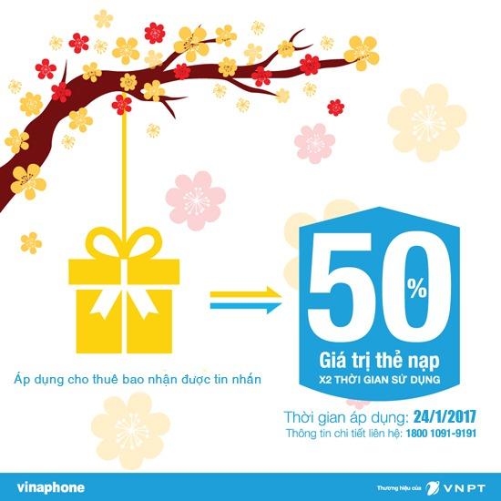 Vinaphone khuyến mãi 50% giá trị thẻ nạp duy nhất ngày 24/1