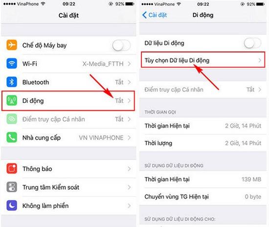 bật mạng 3G lên 4G trên điện thoại iPhone