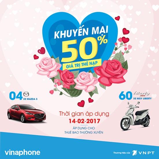 Khuyến mãi Vinaphone tặng 50% thẻ nạp ngày 14/2/2017