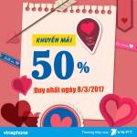 khuyến mãi Vinaphone ngày 8/3 tặng 50% thẻ nạp
