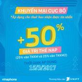Vinaphone khuyến mãi ngày 15/3/2017 tặng 50% giá trị thẻ nạp