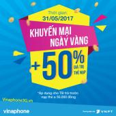 Vinaphone khuyến mãi ngày 31/5/2017