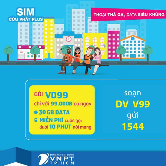 Đăng ký gói VD99 Vinaphone ưu đãi 30GB