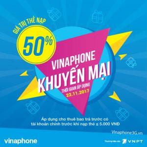 Vinaphone khuyến mãi cục bộ ngày 22/11/2017