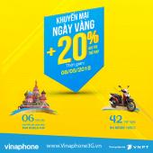 Vinaphone khuyến mãi ngày vàng 8/5/2018 tặng 20% giá trị thẻ nạp