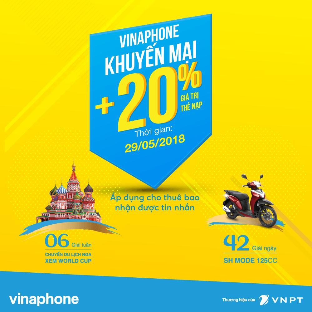 Vinaphone khuyến mãi cục bộ tặng 20% giá trị thẻ nạp ngày 29/5/2018