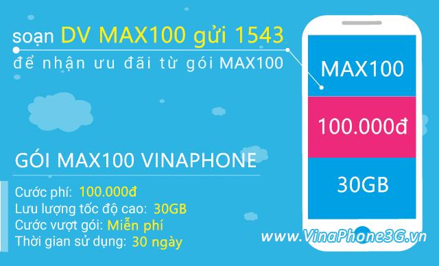 Hướng dẫn đăng ký gói Max100 Vinaphone trọn gói nhận 30GB data giá 100.000đ