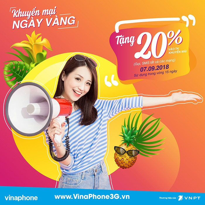 Vinaphone khuyến mãi tặng 20% giá trị thẻ nạp ngày vàng 7/9/2018