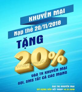Khuyến mãi Vinaphone ngày 20/11 ưu đãi 20% tiền nạp bất kỳ