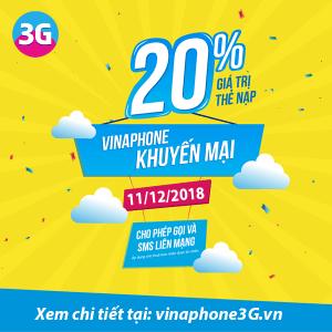 Khuyến mãi của Vinaphone vào ngày 11/12 ưu đãi 20% tiền nạp cục bộ