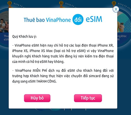 Hướng dẫn cách đổi eSim của Vinaphone