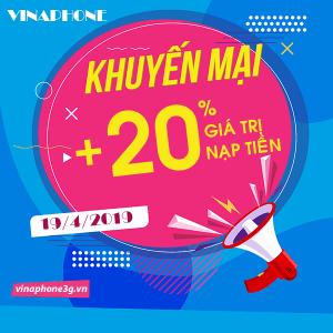 Chương trình khuyến mãi Vinaphone ngày 19/4/2019 ưu đãi ngày vàng toàn quốc