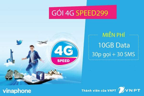 Gói cước SPEED299 Vinaphone miễn phí 10GB DATA + 30 phút gọi + 30 SMS