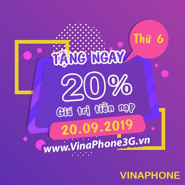 Khuyến mãi Vinaphone ngày 20/9/2019 cho TB trả trước