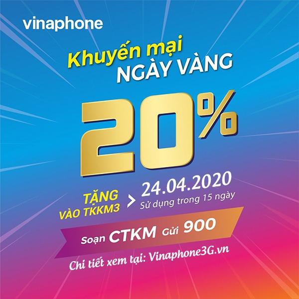 Khuyến mãi của Vinaphone ngày 24/4/2020 cho tất cả TB trả trước