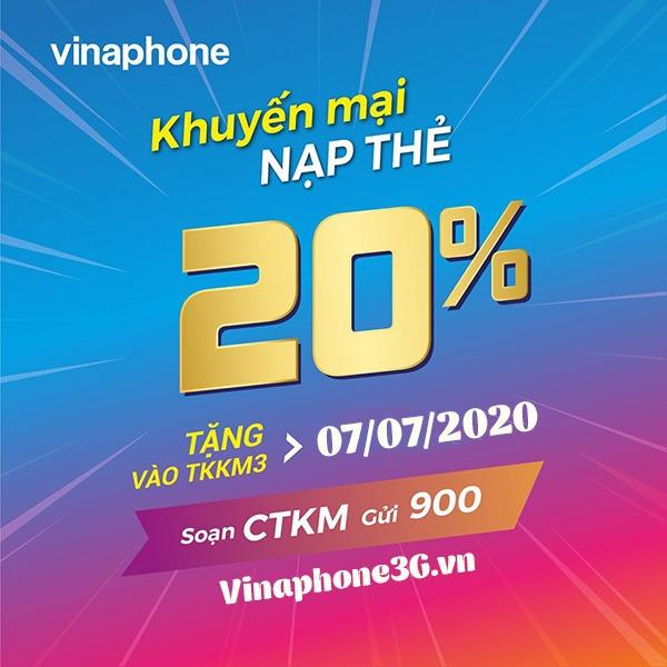 Vinaphone khuyến mãi ngày 7/7/2020 ưu đãi 20% giá trị tiền nạp