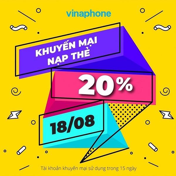 Vinaphone khuyến mãi ngày 18/8/2020 ưu đãi cho tb may mắn