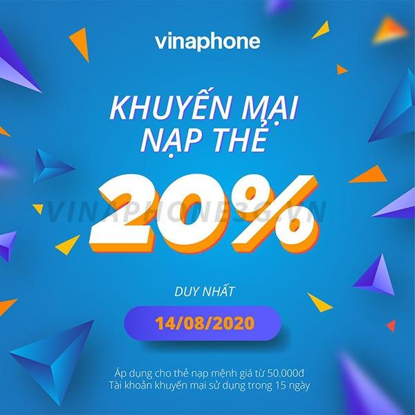 Khuyến mãi của Vinaphone ngày 14/8/2020 ưu đãi cho Tb trả trước