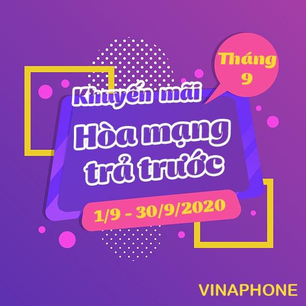 Vinaphone khuyến mãi hòa mạng trả trước tháng 9/2020