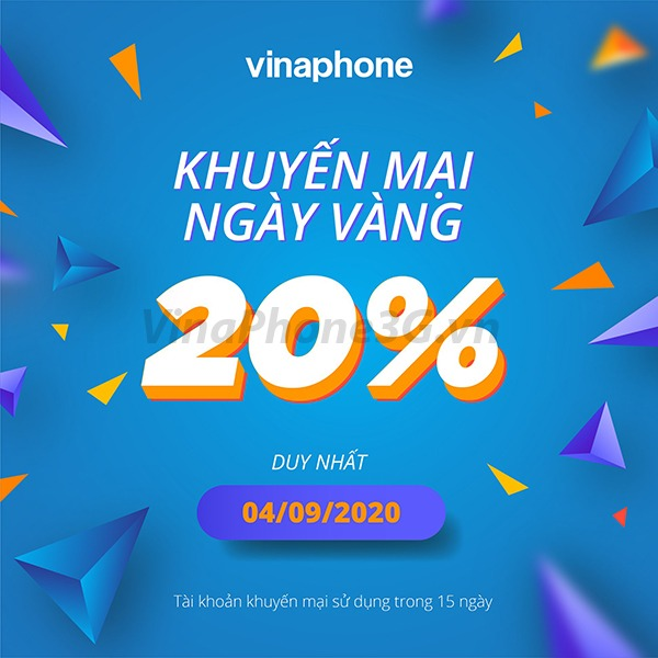 Chi tiết chương trình Vinaphone khuyến mãi ngày 4/9/2020