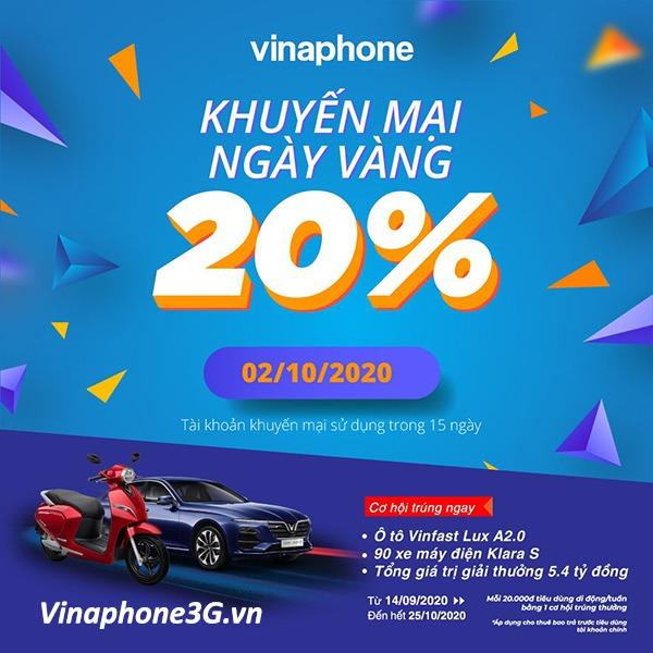 Khuyến mãi Vinaphone ngày 2/10/2020 ưu đãi ngày vàng toàn quốc