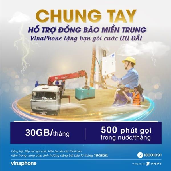Vinaphone miễn phí 30GB data, 500p gọi Free cho đồng bào miền Trung