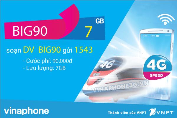 Đăng ký gói cước BIG70 VInaphone nhận 7GB data chỉ từ 70k