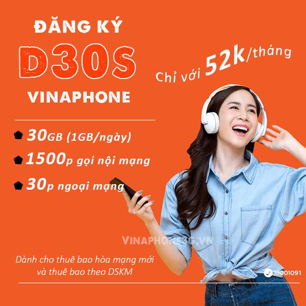 Hướng dẫn cách đăng ký gói cươc D30S Vinaphone ưu đãi data, gọi thoại Free