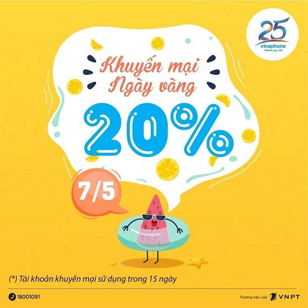 Khuyến mãi Vinaphone ngày 7/5/2021 tặng 20% tiền nạp bất kỳ